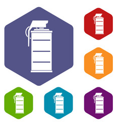 Stun grenade icons set hexagon vector