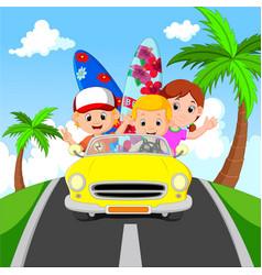cartoon family vacation vector image