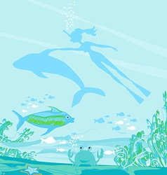 The girl-diver floats together with a dolphin vector