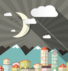 Night landscape town or city in flat design retro vector