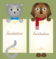 Invitation card cat kitten dog retro hipster vector