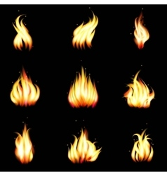 Set of realistic fire vector