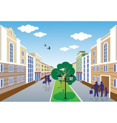 City street perspective summer vector