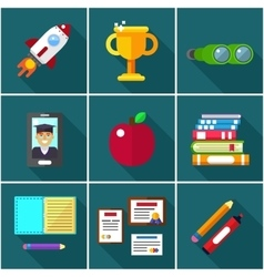 Flat icons of elements objects for education vector