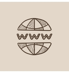Globe internet sketch icon vector