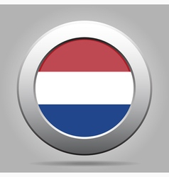 Metal button with flag of netherlands vector