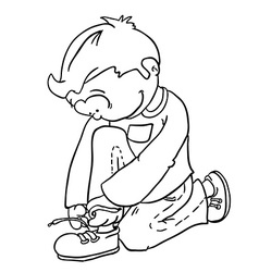 Black and white boy tying a shoelace vector