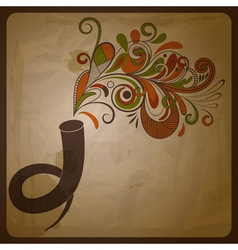 Horn and floral music vector