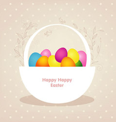 basket with color eggs vector image vector image