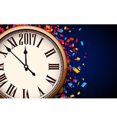 Blue 2017 new year clock background vector