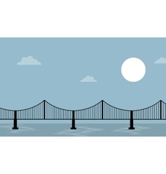 Bridge on sea background landscape vector