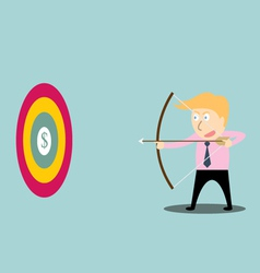 businessman aiming at dollar with bow and arrow vector image
