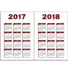Calendar 2017 2018 vector image vector image