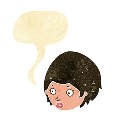 Cartoon girl with concerned expression with speech vector