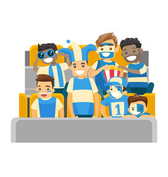 crowd of multiethnic sport supporters at stadium vector image vector image