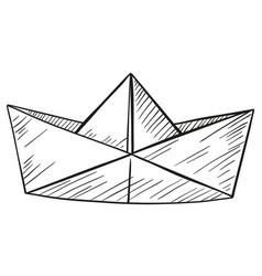 Doodle of paper boat vector