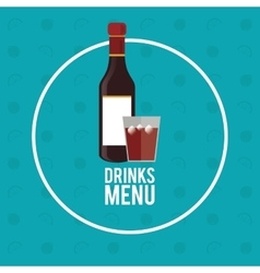 Drinks menu bottle whiskey circle fruit background vector