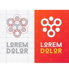 Geometric business icon with scheme vector image