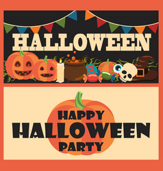 happy halloween party items vector image
