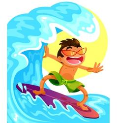 happy surfer vector image vector image