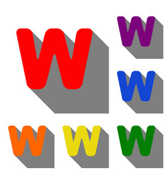 Letter w sign design template element set of red vector