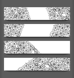 Monochrome flowers pattern cards vector image