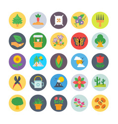 Nature and ecology flat circular icons 1 vector