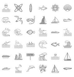 Oceanological icons set outline style vector