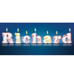 Richard written with burning candles vector