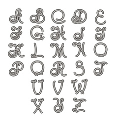 Rope font set of isolated alphabet letters vector