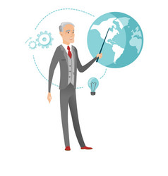 Senior caucasian businessman pointing at a globe vector