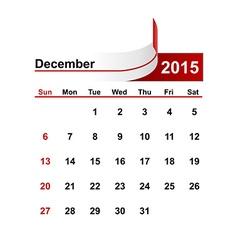 Simple calendar 2015 year december month vector