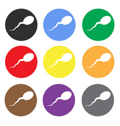 Sperm color icon set flat icon for mobile and web vector
