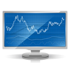 stock chart on white monitor home workstation vector image vector image