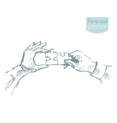 Two hands puzzle teamwork collaboration vector image