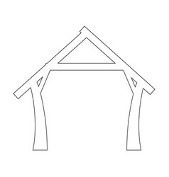 Wooden manger isolated vector