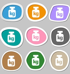 Weight symbols Multicolored paper stickers vector image