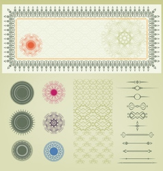 Set of certificate decoration element vector