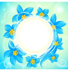 circle of blue flowers greeting card vector image