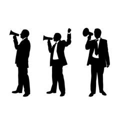 set of people with megaphones vector image