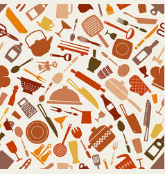 Cookware kitchen seamless pattern in brown shades vector