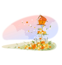 Postbox over floral landscape vector