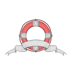 Lifebuoy with ribbon swirl banner hand drawn vector