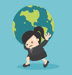 Business woman holding the earth globe vector