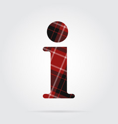 Red black tartan icon - information symbol vector