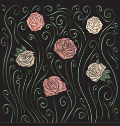 Roses embroidery background vector