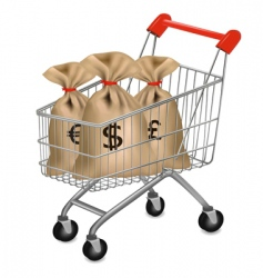 Shopping cart with sacks vector
