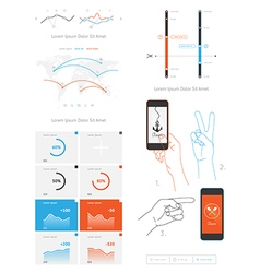 Elements of infographics and user interface vector