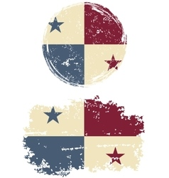 Panamanian round and square grunge flags vector