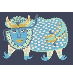 Fantasy animal ukrainian traditional painting vector